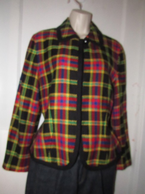 Emanuel Ungaro Edgy Modern Look Mint Condition Shorter Cropped Look Bold By black wool with red, yellow, blue, and green window pane plaid Blazer Image 9