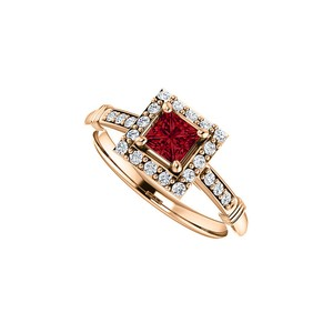 DesignByVeronica .75 ct tw CZ Accented Square Ruby Halo Ring Rose Gold