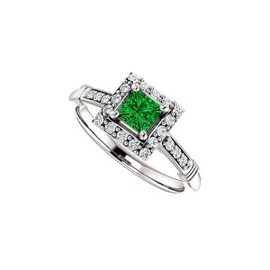 DesignByVeronica Bold Square Emerald CZ Halo Ring in 14K White Gold