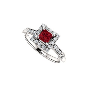 DesignByVeronica Bold Square Ruby and CZ Halo Ring in 14K White Gold