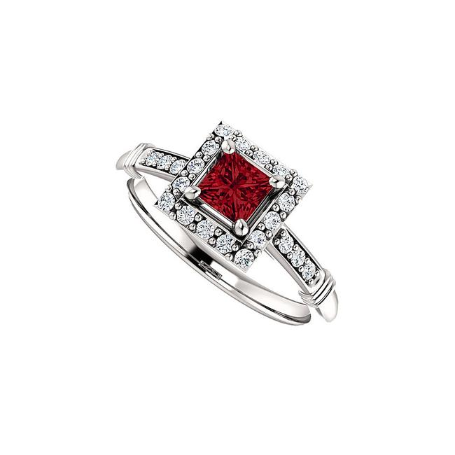 Unbranded Red Bold Square Ruby and Cz Halo In 14k White Gold Ring Unbranded Red Bold Square Ruby and Cz Halo In 14k White Gold Ring Image 1