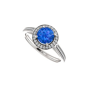 DesignByVeronica Sapphire and CZ Halo Ring 14K White Gold 1.25 CT TGW