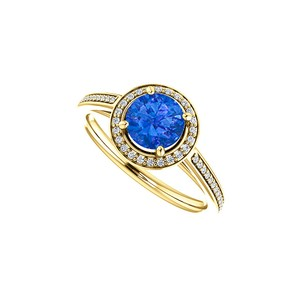 DesignByVeronica Sapphire and CZ Halo Ring 14K Yellow Gold 1.25 CT TGW