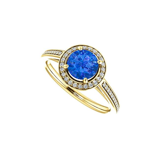 Unbranded Blue Sapphire and Cz Halo 14k Yellow Gold 1.25 Ct Tgw Ring Unbranded Blue Sapphire and Cz Halo 14k Yellow Gold 1.25 Ct Tgw Ring Image 1