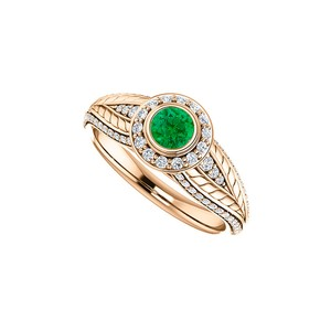 DesignByVeronica Round Emerald CZ Leaf Pattern Halo Ring 14K Rose Gold