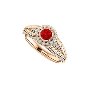 DesignByVeronica Round Ruby CZ Leaf Pattern Halo Ring in 14K Rose Gold
