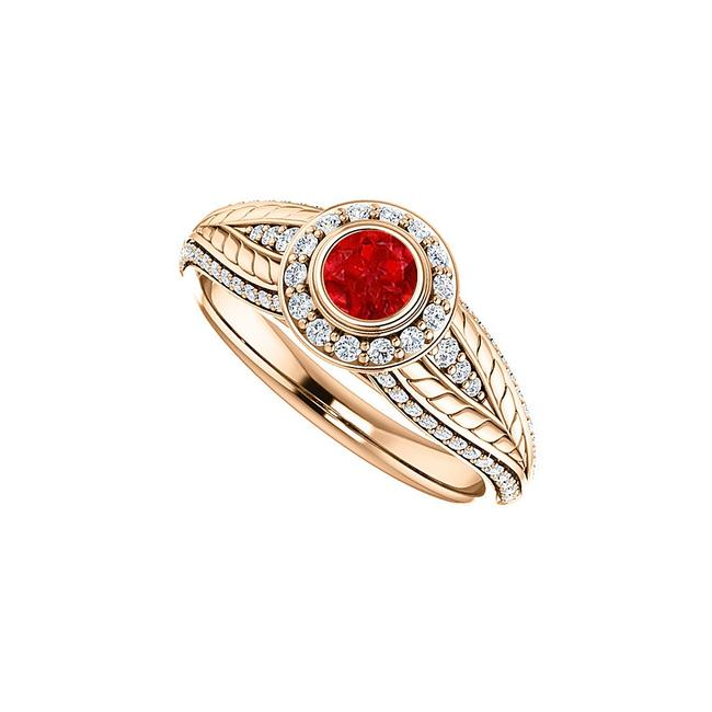 Unbranded Red Round Ruby Cz Leaf Pattern Halo In 14k Rose Gold Ring Unbranded Red Round Ruby Cz Leaf Pattern Halo In 14k Rose Gold Ring Image 1