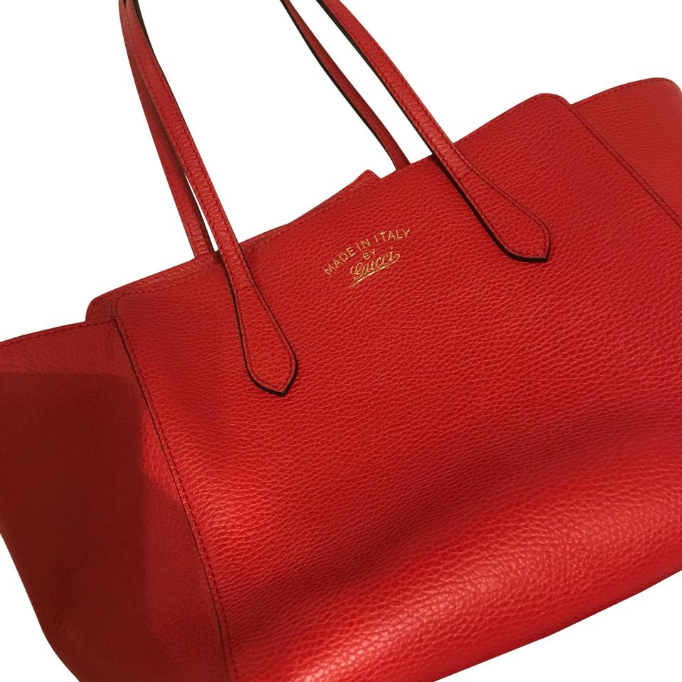 72a317a517b9 Gucci Swing Tote Red Leather Shoulder Bag - Tradesy