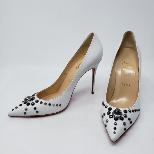 Christian Louboutin Pointed Toe Silver Hardware Studded So Kate Door Knock White Pumps Image 1