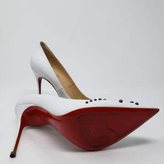 Christian Louboutin Pointed Toe Silver Hardware Studded So Kate Door Knock White Pumps Image 10