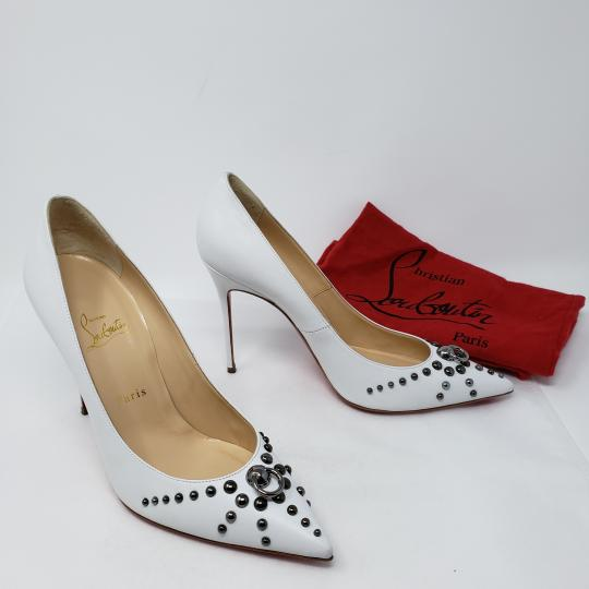 Christian Louboutin Pointed Toe Silver Hardware Studded So Kate Door Knock White Pumps Image 2