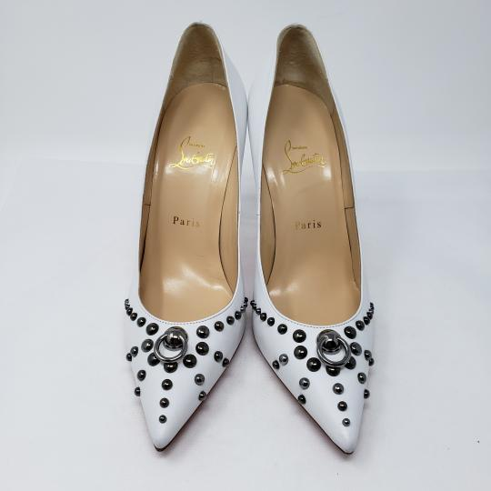 Christian Louboutin Pointed Toe Silver Hardware Studded So Kate Door Knock White Pumps Image 5