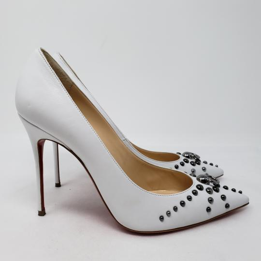 Christian Louboutin Pointed Toe Silver Hardware Studded So Kate Door Knock White Pumps Image 6