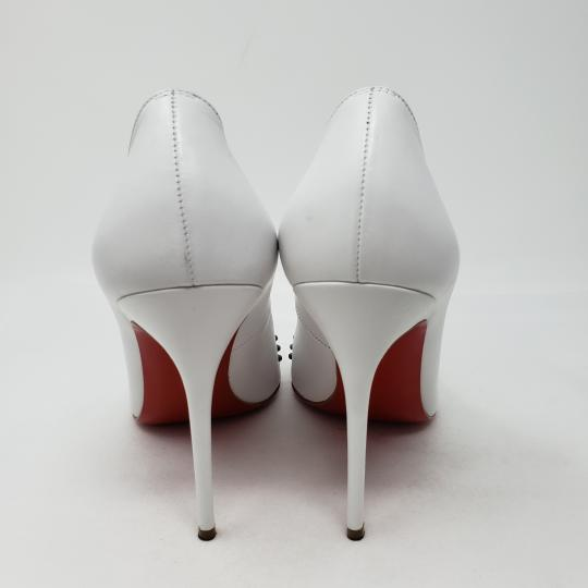 Christian Louboutin Pointed Toe Silver Hardware Studded So Kate Door Knock White Pumps Image 7