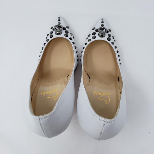 Christian Louboutin Pointed Toe Silver Hardware Studded So Kate Door Knock White Pumps Image 9
