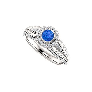 DesignByVeronica Sapphire and CZ Leaf Pattern Halo Ring 14K White Gold