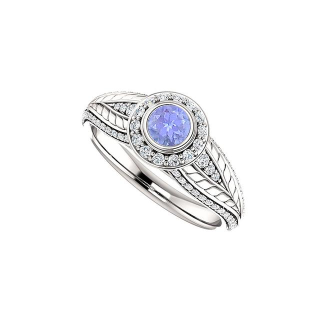 Unbranded Blue Tanzanite and Cz Leaf Pattern Halo 14k White Gold Ring Unbranded Blue Tanzanite and Cz Leaf Pattern Halo 14k White Gold Ring Image 1