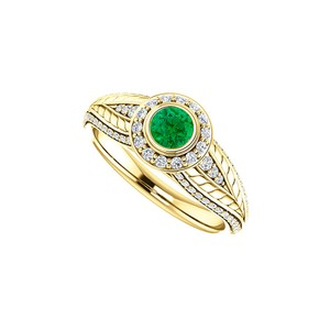 DesignByVeronica Simulated Emerald CZ Leaf Pattern Halo Ring Yellow Gold