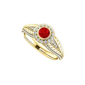 DesignByVeronica Stunning Ruby CZ Leaf Pattern Halo Ring 14K Yellow Gold