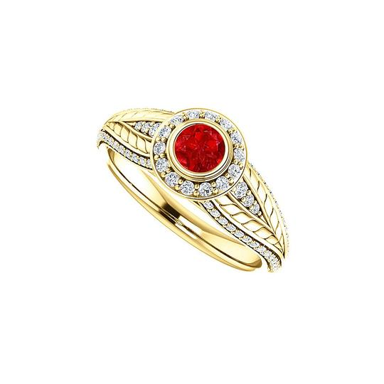 DesignByVeronica Stunning Ruby CZ Leaf Pattern Halo Ring 14K Yellow Gold Image 0
