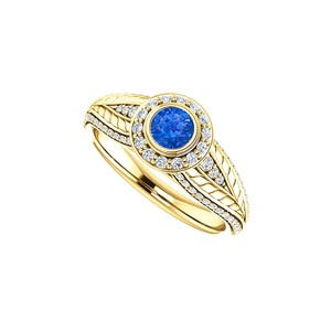 DesignByVeronica Sapphire and CZ Leaf Pattern Halo Ring 14K Yellow Gold