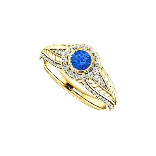 Preload https://img-static.tradesy.com/item/24187987/blue-sapphire-and-cz-leaf-pattern-halo-14k-yellow-gold-ring-0-0-540-540.jpg