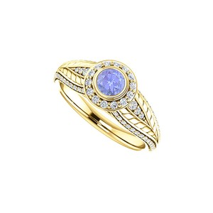 DesignByVeronica Tanzanite and CZ Leaf Pattern Halo Ring 14K Yellow Gold