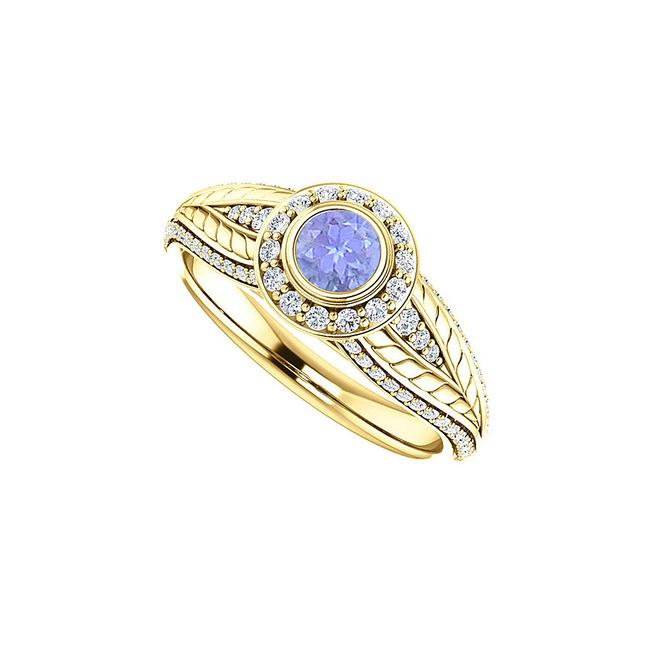 Unbranded Blue Tanzanite and Cz Leaf Pattern Halo 14k Yellow Gold Ring Unbranded Blue Tanzanite and Cz Leaf Pattern Halo 14k Yellow Gold Ring Image 1