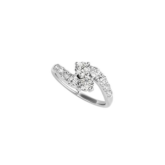DesignByVeronica Beautiful Design CZ Two Stone Ring 925 Sterling Silver Image 0