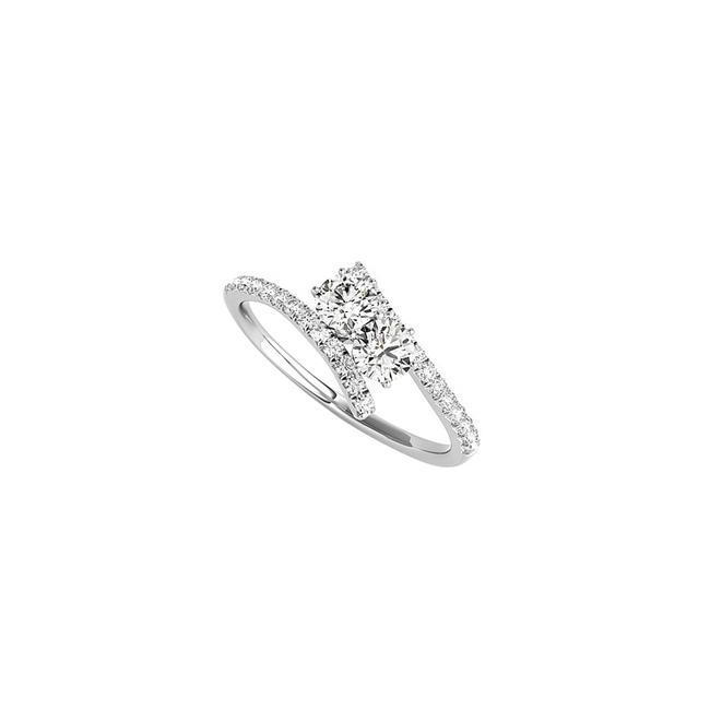 Unbranded White True Love Expression with Cz Two Stone 925 Silver Ring Unbranded White True Love Expression with Cz Two Stone 925 Silver Ring Image 1