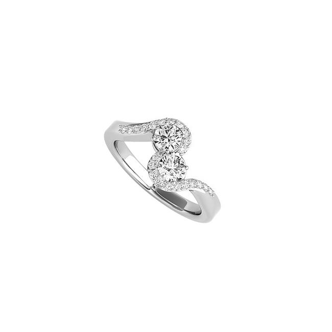 Unbranded White Excellent Design Two Stone Cz In 14k Gold Ring Unbranded White Excellent Design Two Stone Cz In 14k Gold Ring Image 1