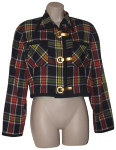 Emanuel Ungaro Edgy Modern Look Mint Condition Shorter Cropped Look By Unique Hinge Buttons navy blue with red, yellow, white, and green window pane plaid Blazer