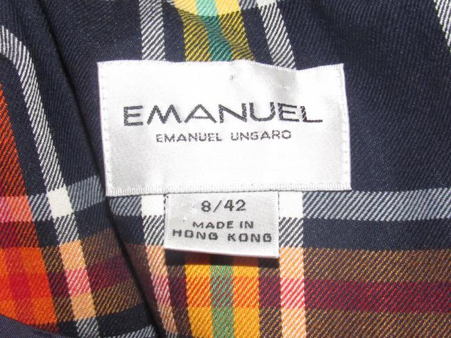 Emanuel Ungaro Edgy Modern Look Mint Condition Shorter Cropped Look By Unique Hinge Buttons navy blue with red, yellow, white, and green window pane plaid Blazer Image 1