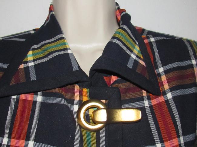 Emanuel Ungaro Edgy Modern Look Mint Condition Shorter Cropped Look By Unique Hinge Buttons navy blue with red, yellow, white, and green window pane plaid Blazer Image 10