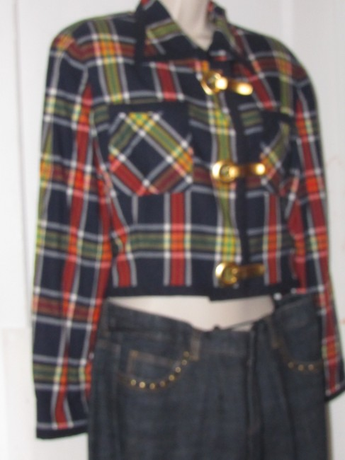 Emanuel Ungaro Edgy Modern Look Mint Condition Shorter Cropped Look By Unique Hinge Buttons navy blue with red, yellow, white, and green window pane plaid Blazer Image 2