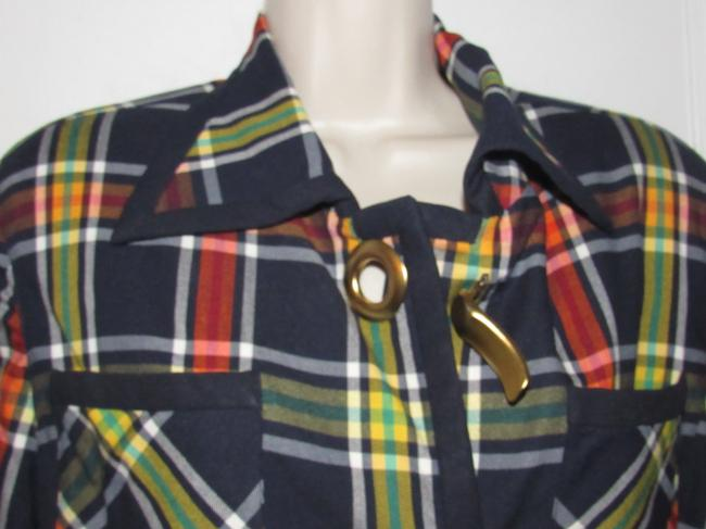 Emanuel Ungaro Edgy Modern Look Mint Condition Shorter Cropped Look By Unique Hinge Buttons navy blue with red, yellow, white, and green window pane plaid Blazer Image 3