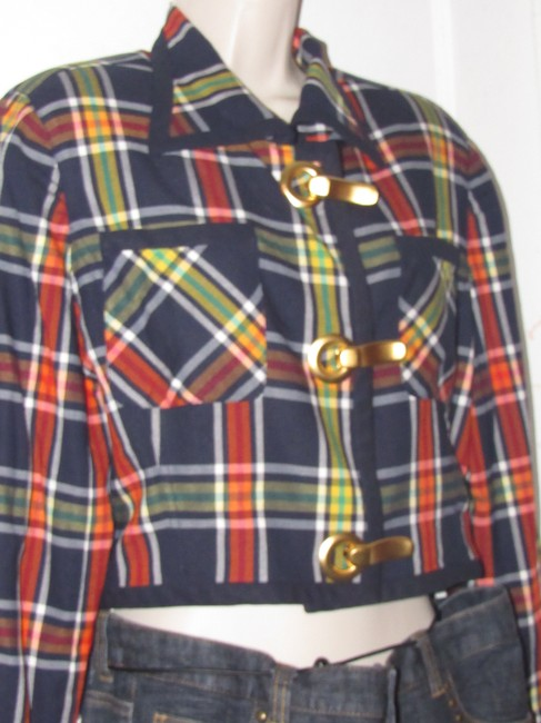 Emanuel Ungaro Edgy Modern Look Mint Condition Shorter Cropped Look By Unique Hinge Buttons navy blue with red, yellow, white, and green window pane plaid Blazer Image 5