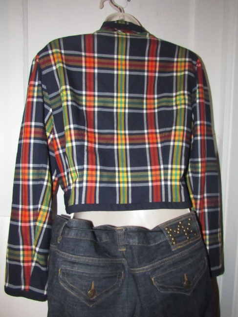 Emanuel Ungaro Edgy Modern Look Mint Condition Shorter Cropped Look By Unique Hinge Buttons navy blue with red, yellow, white, and green window pane plaid Blazer Image 6