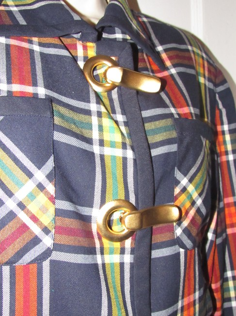 Emanuel Ungaro Edgy Modern Look Mint Condition Shorter Cropped Look By Unique Hinge Buttons navy blue with red, yellow, white, and green window pane plaid Blazer Image 7