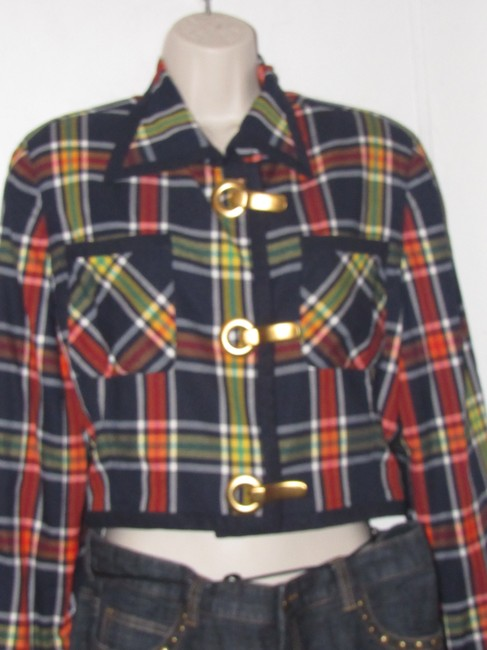 Emanuel Ungaro Edgy Modern Look Mint Condition Shorter Cropped Look By Unique Hinge Buttons navy blue with red, yellow, white, and green window pane plaid Blazer Image 8