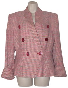 Dior Mint Vintage Mid Century Edgy Modern Look Silk/Wool Short Structured Cut pink, turquoise, red, and white, tweed Blazer