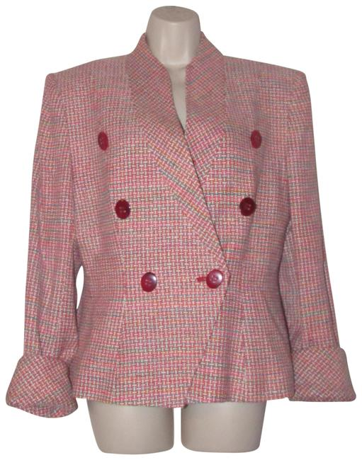 Dior Pink Turquoise Red and White Tweed Vintage Blazers/Designer Clothes Blazer Size 10 (M) Dior Pink Turquoise Red and White Tweed Vintage Blazers/Designer Clothes Blazer Size 10 (M) Image 1