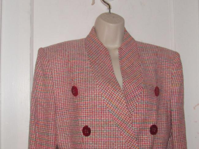 Dior Mint Vintage Mid Century Edgy Modern Look Silk/Wool Short Structured Cut pink, turquoise, red, and white, tweed Blazer Image 1