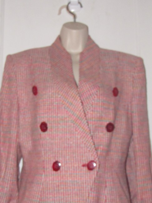 Dior Mint Vintage Mid Century Edgy Modern Look Silk/Wool Short Structured Cut pink, turquoise, red, and white, tweed Blazer Image 10
