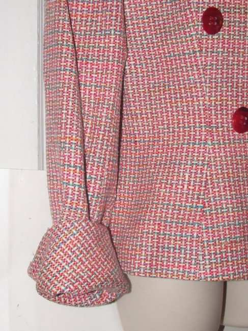 Dior Mint Vintage Mid Century Edgy Modern Look Silk/Wool Short Structured Cut pink, turquoise, red, and white, tweed Blazer Image 11