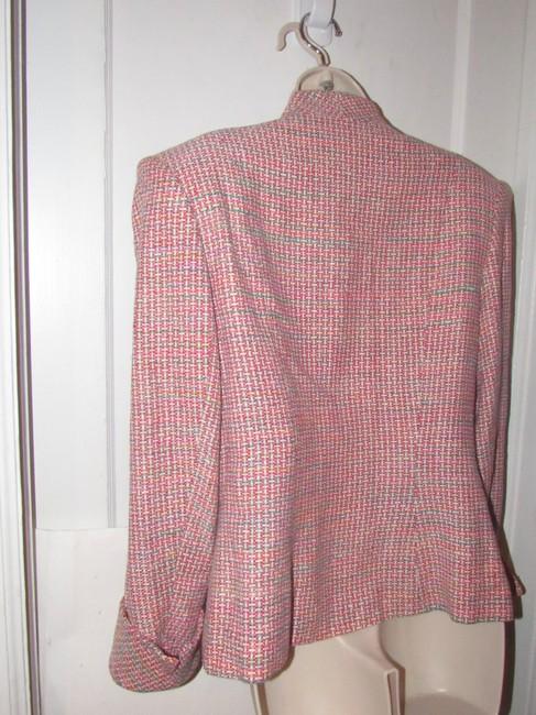 Dior Mint Vintage Mid Century Edgy Modern Look Silk/Wool Short Structured Cut pink, turquoise, red, and white, tweed Blazer Image 3