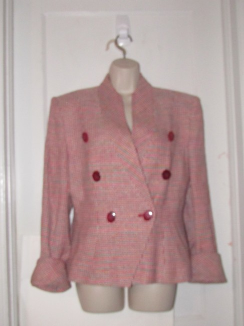 Dior Mint Vintage Mid Century Edgy Modern Look Silk/Wool Short Structured Cut pink, turquoise, red, and white, tweed Blazer Image 4