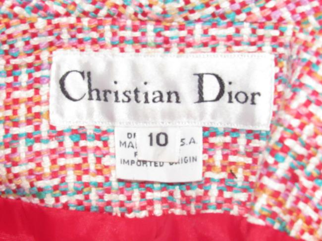 Dior Mint Vintage Mid Century Edgy Modern Look Silk/Wool Short Structured Cut pink, turquoise, red, and white, tweed Blazer Image 5