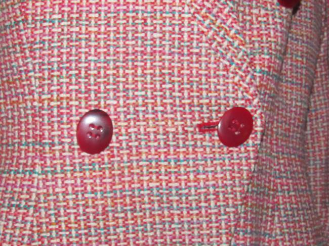 Dior Mint Vintage Mid Century Edgy Modern Look Silk/Wool Short Structured Cut pink, turquoise, red, and white, tweed Blazer Image 6