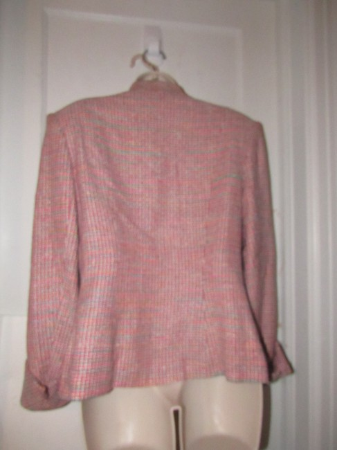 Dior Mint Vintage Mid Century Edgy Modern Look Silk/Wool Short Structured Cut pink, turquoise, red, and white, tweed Blazer Image 7